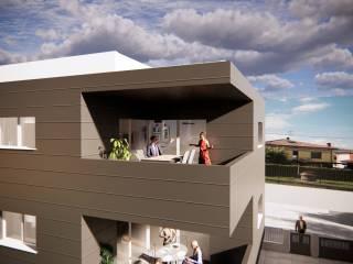 Vista terrazze attico e appartamento